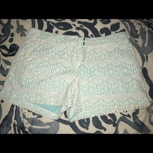 Teal and White Lace Shorts